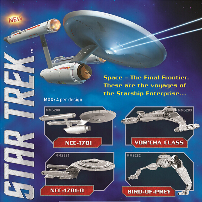 2016 Hot sale Star Trek 3D Metal Puzzles Assemble DIY Starship Enterprises 1701 /Bird Of Prey/ Kerrigan No. Model Toys Gift(China (Mainland))