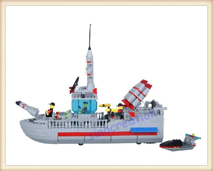 WANGE 449pcs/set DIY High-speed Super Warship Children's Educational Ship Plastic Toy Blocks 040330,