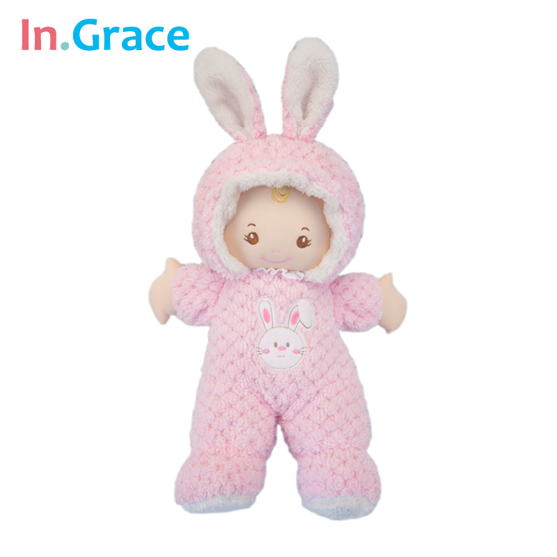 In.Grace super cute pink rabbit baby born dolls sleeping comfort doll soft plush and stuffed baby toys for girls 43CM handmade(China (Mainland))