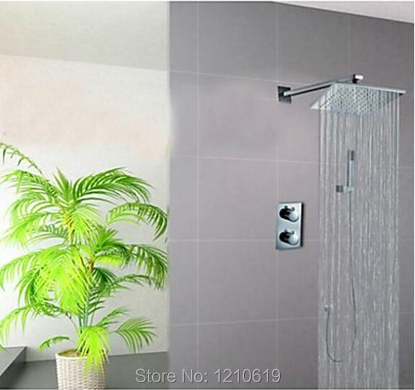 Newly Water Saving Shower Faucet Set Chrome Polished Thermostatic Shower Tap Rainfall Shower Head W/ Hand Shower Wall Mounted