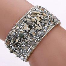 Exquisite Gravel stone bracelet 22cm Handmade Gravel Stone Crystal Wristband Leather Bracelet Jewelry Gift(China)