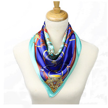 Fashion design 2017 Square Scarf Women Bufandas Mujer Chain Belt Print Silk Scarves Summer Fall Lady Satin Headwear Hijab 60*60(China (Mainland))