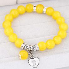 11 Colors Pulseira Love Heart Pendant Bracelets Bangles for Women Pulsera Mujer Fashion Glass Bead Strand Bracelet Bijoux 2015(China (Mainland))