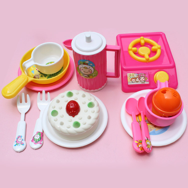 14pcs set plastic kitchen food simulation tableware cake for Kitchen set cake