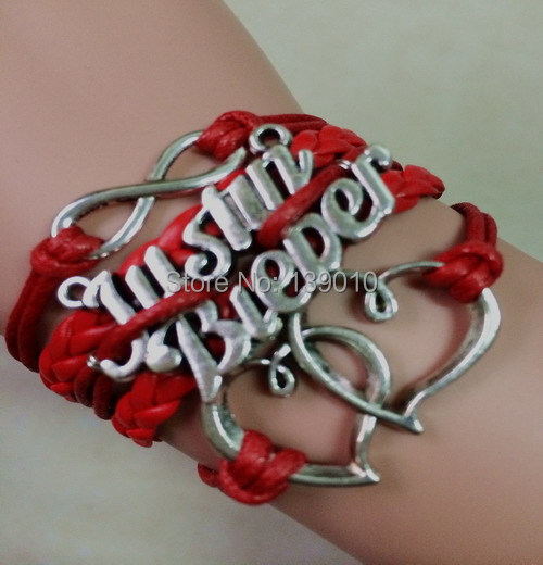 Handmade Red Leather Rope Jewelry Fashion Metal Double Heart Justin Bieber Infinity Mixed Charms Lobster Clasp Bracelet Bangles(China (Mainland))
