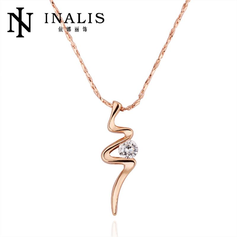 New Arrivals 18K/Rose Gold/Platinum Plated CZ Pendants Necklaces Women Chain Nickle Free Antiallergic Necklace(China (Mainland))