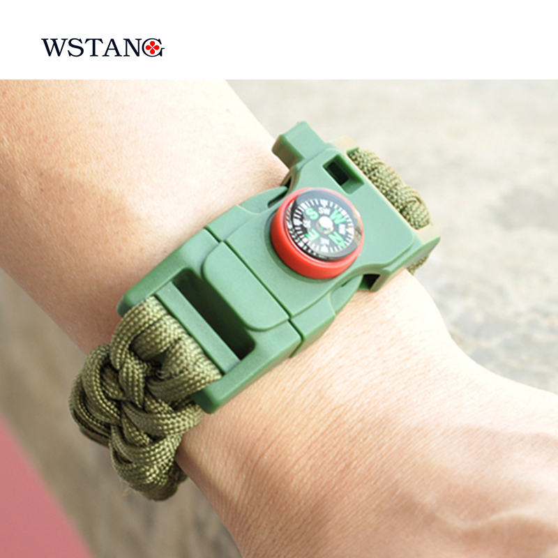 W S TANG New 2015 Paracord survival bracelet mountaineer adventure self-rescue camping wristbands emergency rope compass kits