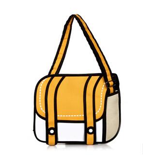 2015 New Fashion 2D Bags Novelty Back To School Bag 3D Drawing Cartoon Comic Handbag Lady Shoulder Bag Messenger 6 Color Gifts(China (Mainland))