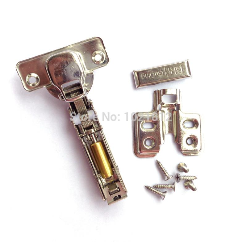 1 Pair Full overlay Hydraulic Cabinet Hinge 304Stainless Steel Hinge Soft Close Brass Buffering Clip-on Base(China (Mainland))