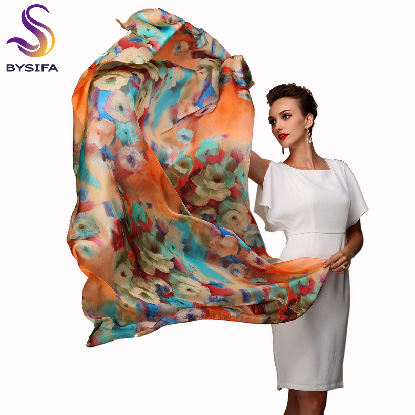 [BYSIFA] 2017 Winter Fashion Women's Scarf Hot Sale Mulberry Silk Scarves Shawl Female Long Silk Scarf Blue And Coffee 180*110cm(China (Mainland))