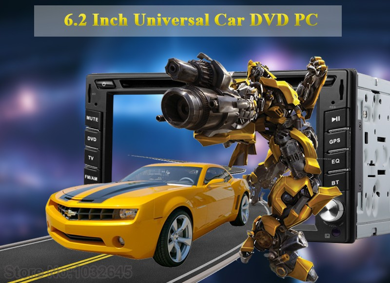 2015New In Dash Car DVD Player 2 DIN Car Audio Stereo Radio Bluetooth PC USB SD 6.2 Inch Touch Screen Car Video Free Rear Camera()