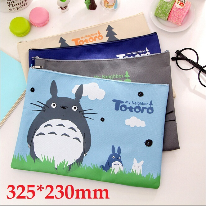 1pcs/lot New Japan Cartoon Totoro cat series Canvas File bag Cosmetic Bag file product office supplier 4styles 325*230mm(China (Mainland))