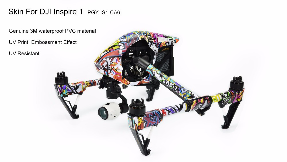 PGY DJI Inspire 1 Accessories Stickers PVC Decals Skin Wrap Cover Set DJI inspire1 Remote Control Battery RC 3M film drone