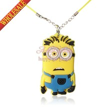 1pcs Minions Despicable Me Cartoon PVC Necklace Chain fit for Kids Pendants Accessories Travel Accessories Children Party Gift(China (Mainland))