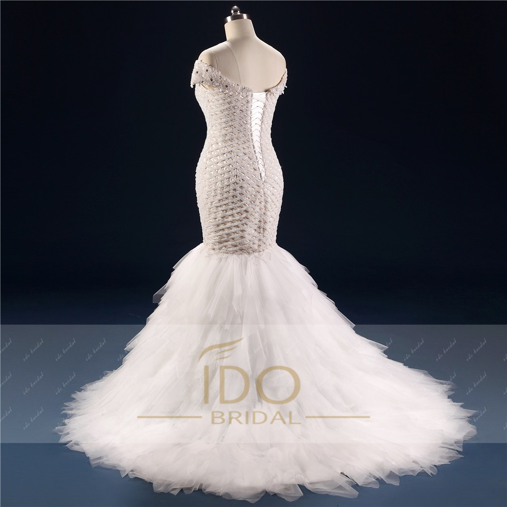 100% Real Photo Africa Luxury Off the Shoulder 2017 Mermaid Wedding Dresses with Crystal Tulle Bridal Gown Vestido de Festa RW1 5