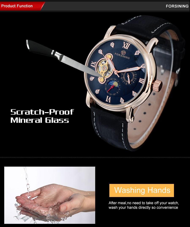 2016 топ марка FORSINING Роскошные мужчины часы moon phase автоматические Механические турбийон фазы луны Горный Хрусталь наручные часы A824
