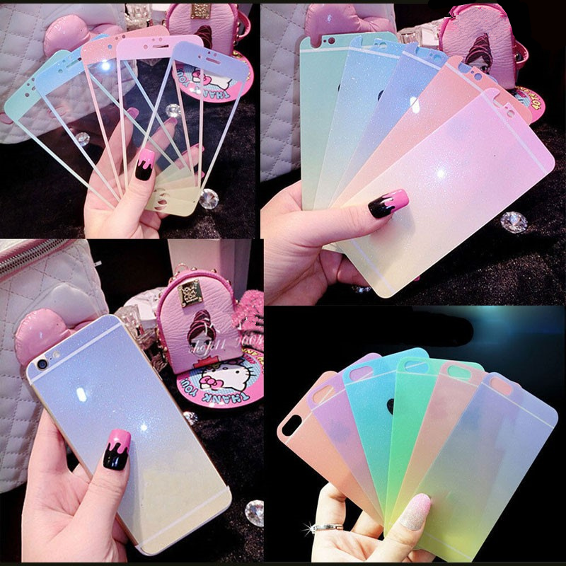Front+Back Premium Tempered Glass Gradient Colorful cover Screen Protector case For Iphone 5 5S 6 6s plus film cristal templado(China (Mainland))