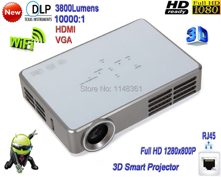 2016 New DLP WiFi 3800 lumens Android System LED Projector Full HD 1080P Digital 3D Smart Projector Free shipping(China (Mainland))