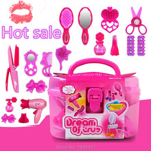 (18 pieces/set) Children simulation beauty salon toys suit pink girls simulation dressing table kids cosmetics toys set gifts(China (Mainland))