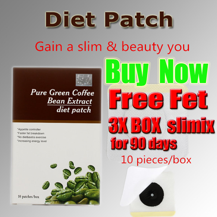 free Get 3 extra Slimix bottle for 60 days, detox patch,Pure Green Coffee Bean Extract diet patch(China (Mainland))
