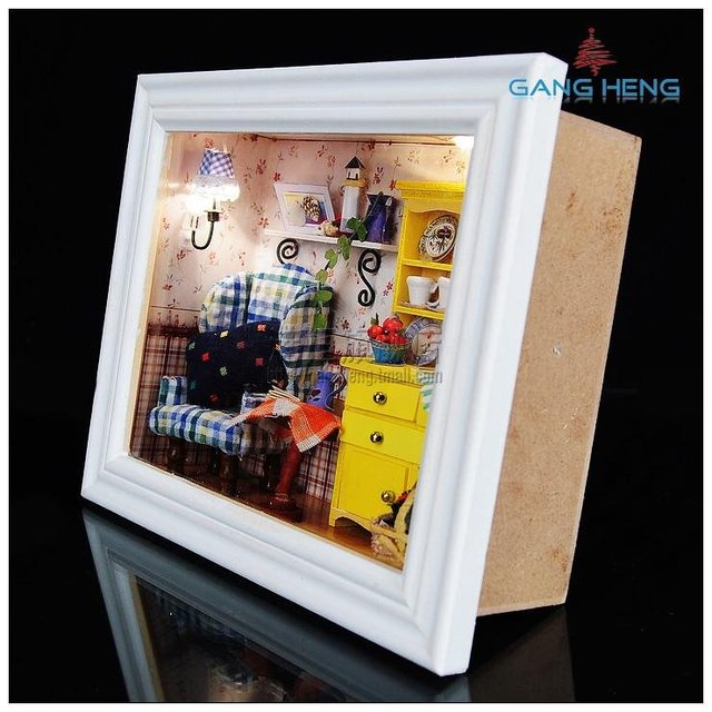 3d wooden frame led light dollhouse room miniatures kit summer afternoonwith cover