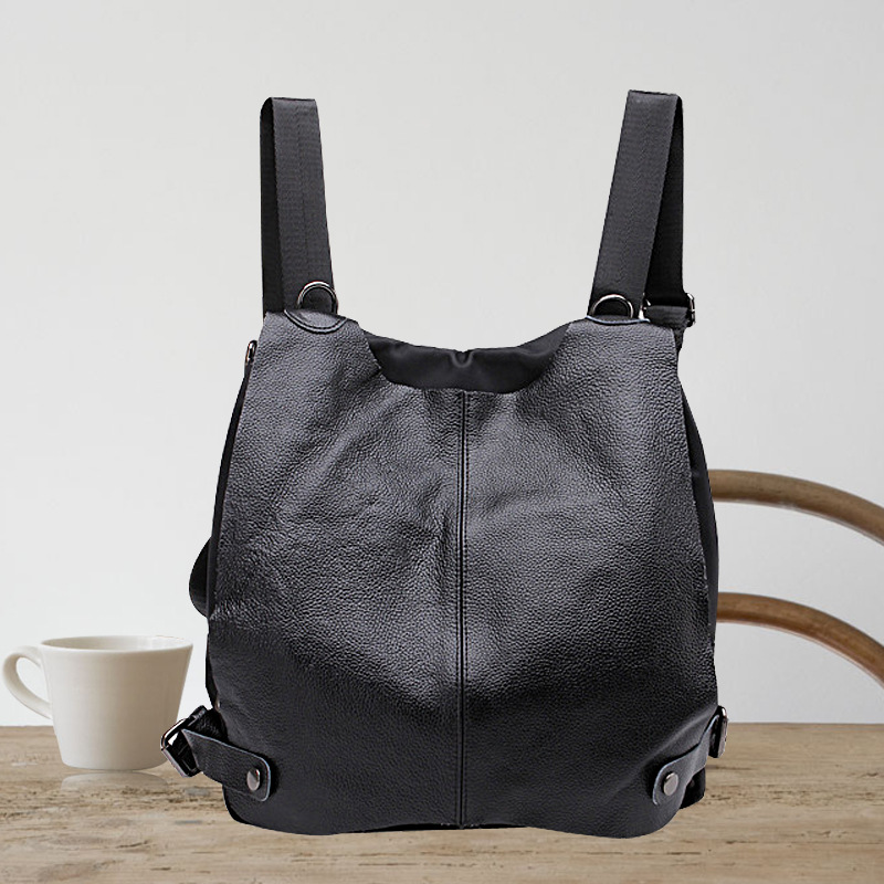 Popular sale Cowhide genuine Leather shoulder bags women black classic elegant backpacks female preppy style fashion backpacks<br><br>Aliexpress