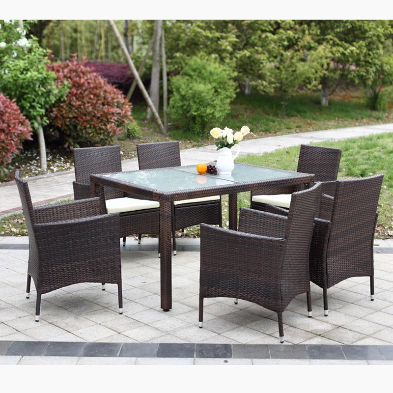 Brand IKAYAA US Stock Rattan Outdoor Patio Dinning Table Set Cushioned Garden Patio Furniture Set Light Brown + Coffee Cushion(China (Mainland))