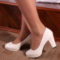2016 New Heels 7CM Patent Leather Women Pumps LANSHITIN Round Toe Ladies Sexy White Black Red