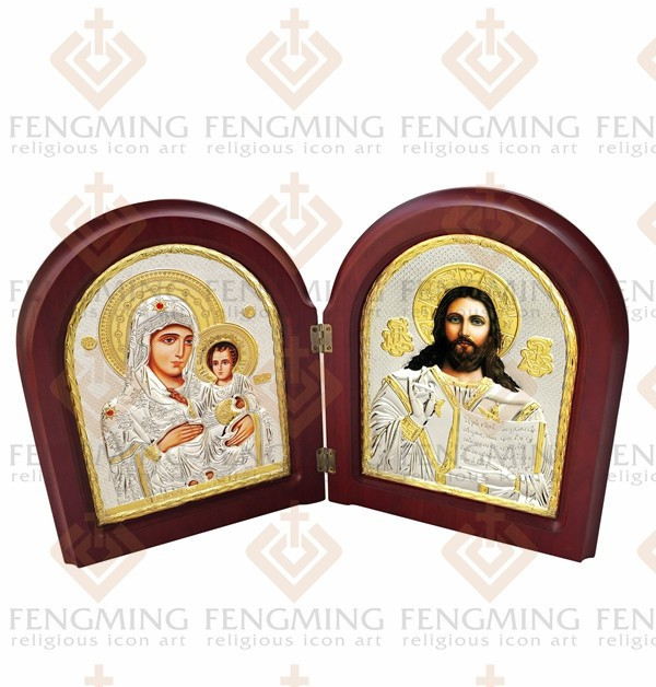 käsämä kartta plating icon wood MDF Double metal silver icon jesus Christ images  käsämä kartta