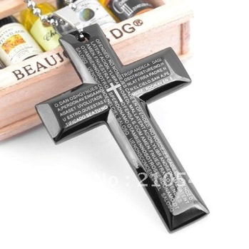 stainless steel bigger black cross bible logo pendant & pearl chain necklace religious jewelry DZ222