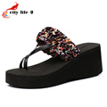 Summer Platform Sandals Thick High Heeled Shoes Women Flip Flops Flowers Slippers Women Travel Holiday