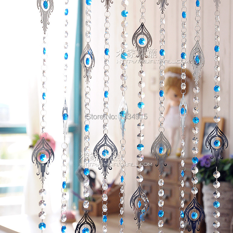 Free shipping 1m lenght Ombre stainless steel octagonal crystal bead curtain can be customized crystal curtain porch partition(China (Mainland))
