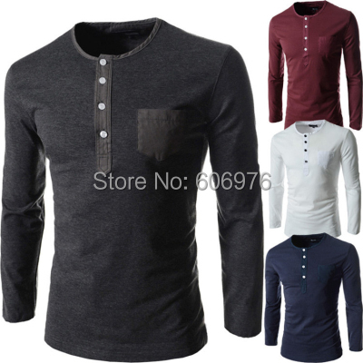 Camisetas2015 Men tops Cotton T shirt men Long Sleeve tshirts Decorative buttons round neck T-shirt Slim fit t shirts(China (Mainland))