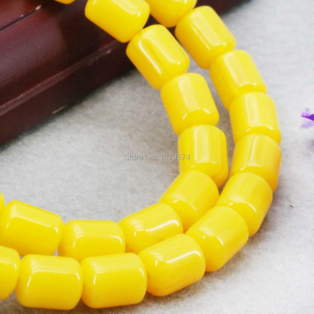 Hot Sale Imitation Beeswax Jewelry Amber Stone Loose Beads Yellow Opaque Resin Accessories DIY Beads 8X10mm For Women Girls Gift(China (Mainland))