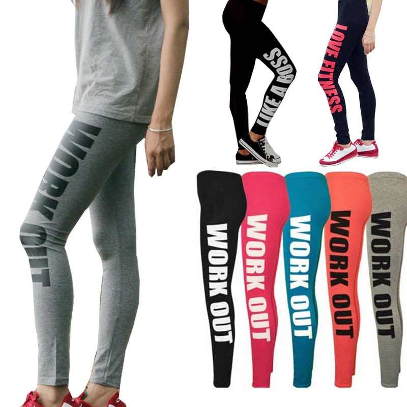 Sport Leggings Workout Leggings for Women Workout Clothes gym 95% Cotton Printed Workout Pants(China (Mainland))