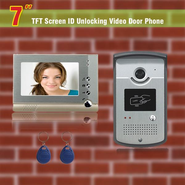 "Фотография 7"" monitor video door phone intercom doorbell 2 ID card Unlocking doorbell intercom video door phone camera Video access control"