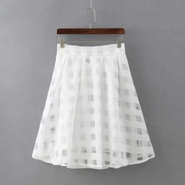 free shipping saia organza plaid skirts female A-line high waist skirt women skirt sweet skirts womens ball gown ladies skirts(China (Mainland))