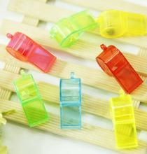 10 Pcs/lot Cute Children plastic whistle creative banana shape 7 designs Childlike toy type random color(China)