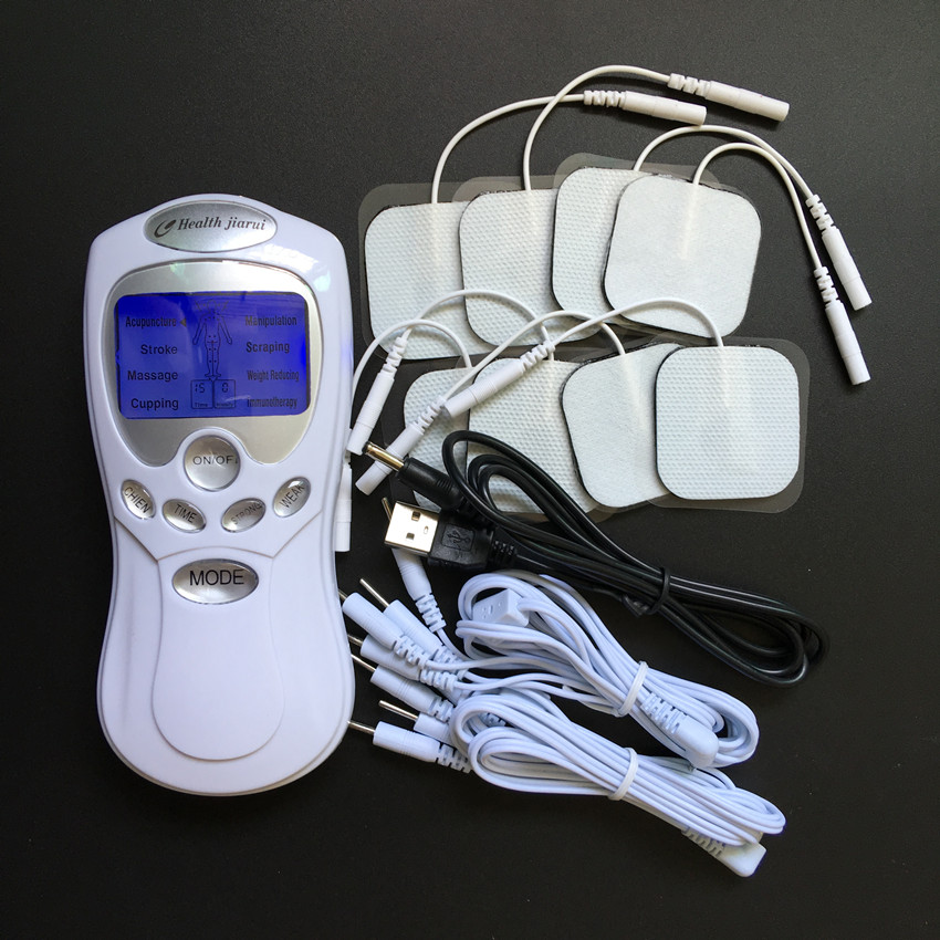 Good quality Dual Input Tens Acupuncture Digital Therapy Machine Massager with usb cable +8pcs 4*4cm Tens Electrode Pads(China (Mainland))