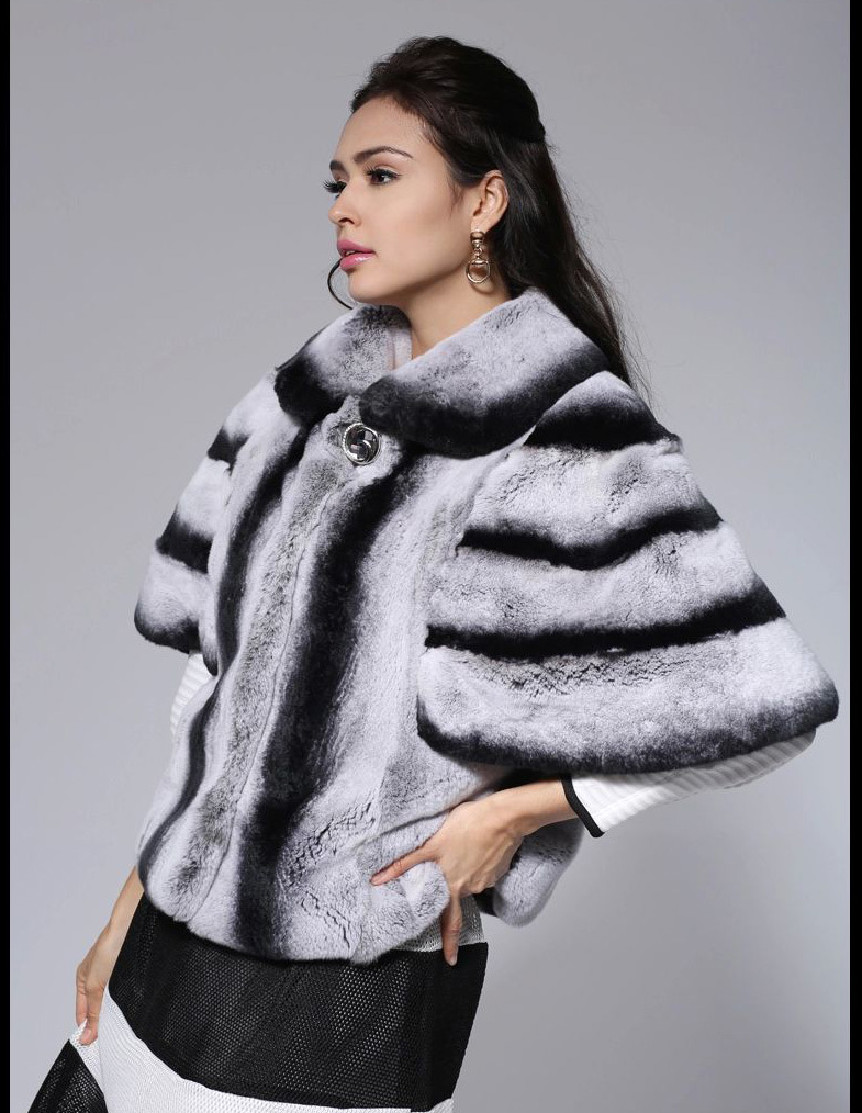 2015 NEWEST style chinchilla rex rabbit fur coat 2 colors female top quality fur jacket fur poncho cape(China (Mainland))