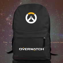 For Overwatch Unisex Backpack Nylon Casual Zipper Laptop Backpack Birthday Gift Gaming Black White School Bag(China (Mainland))