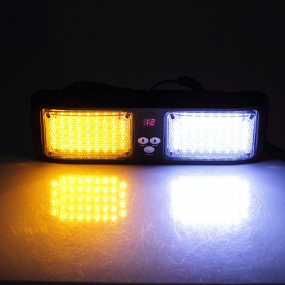 Beacon Flashing LightBar Emergency Harzard Visor Strobe light-86 LED Amber&White(China (Mainland))