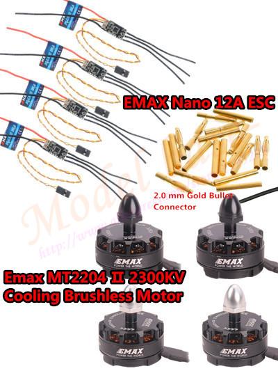 4PCS Emax MT2204 II 2300KV Cooling /MT2204 2300KV Brushless Motor& 4PCS EMAX Nano 12A ESC 2-4S For Mini FPV Quadcopter QAV250