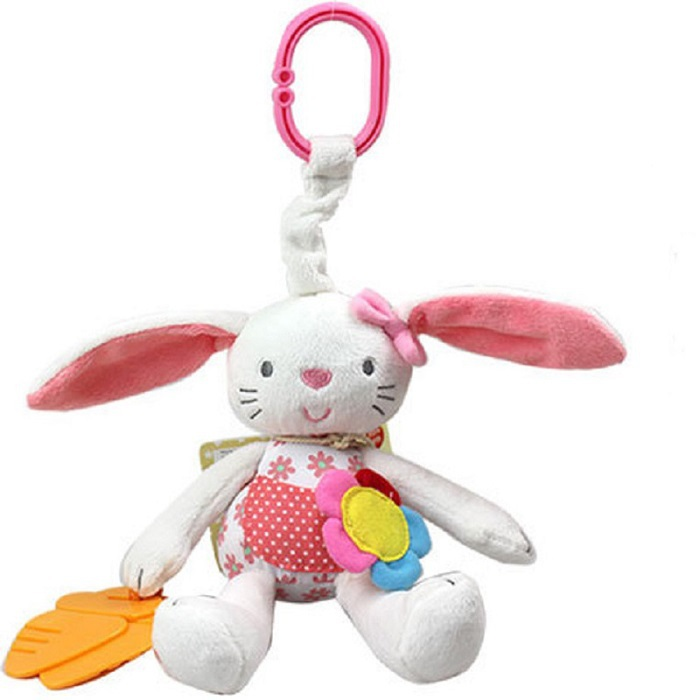 0+ Baby Toy Soft Rabbit Bunny Plush Doll Baby Rattle Ring Bell Crib Bed Hanging Animal Toy Teether Multifunction Doll Kids Toy(China (Mainland))