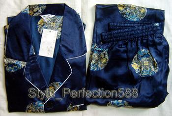 Free shipping ! Navy blue Men's Polyester Satin Robe Pajama Sets Sleepwear Nightwear SIZE S M L XL XXL XXXL ZT-2