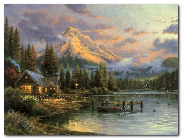 """The living room wall picture Free shipping Lakeside Hideaway Thomas kinkade Art print on canvas 20x24""""(China (Mainland))"""