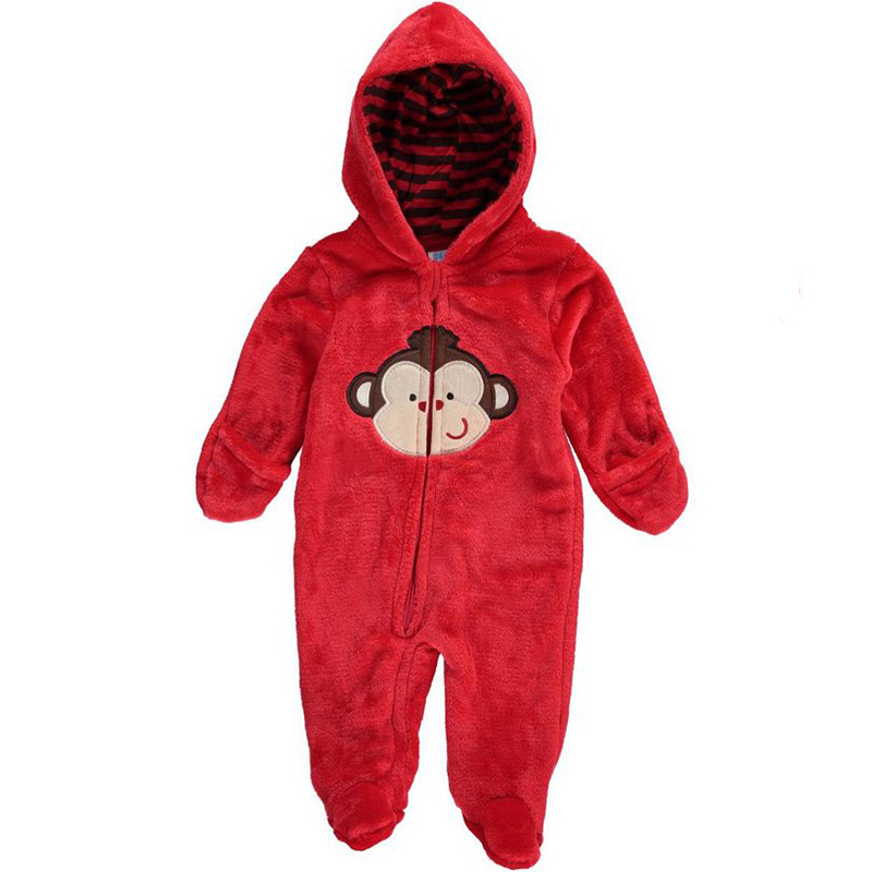 Animal Style Warm Hooded Baby Velour Rompers Winter Boys Girls Clothes Outfits Newborn Cotton Jumpsuit Clothing(China (Mainland))