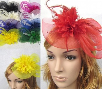 Free shipping Feather and flower Fascinator Hat with black headband- wedding, ladies day 3pcs/lot