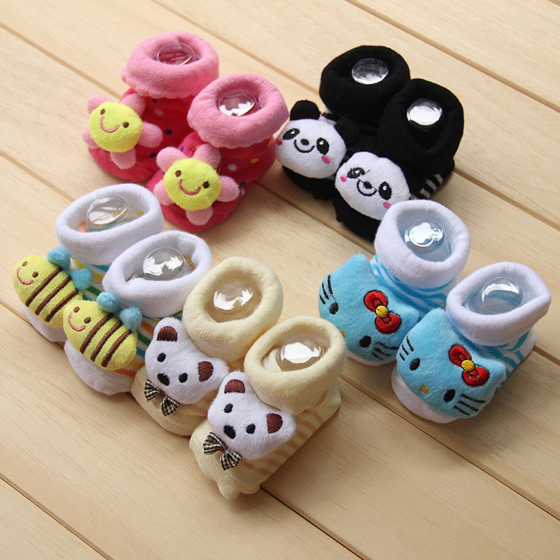 Warm baby shoes socks rubber sole infant socks cartoon cute newborn kids shoes slippers anti skid Autumn winter 0-18 Month 082(China (Mainland))