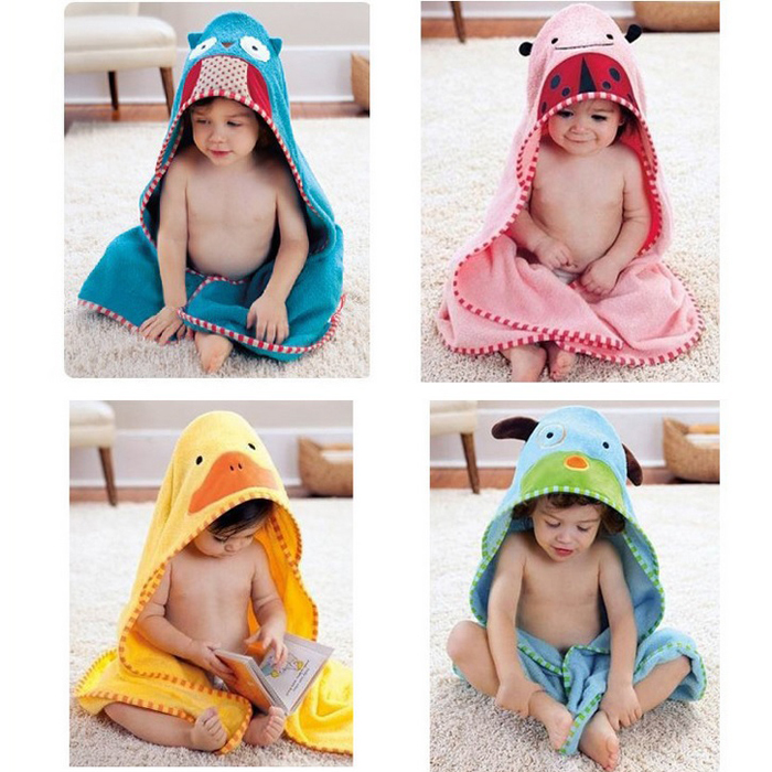 Baby Soft Cotton Hooded Bathrobe Baby Bath Towel Infant Blanket Cute Cartoon Animal Figure(China (Mainland))